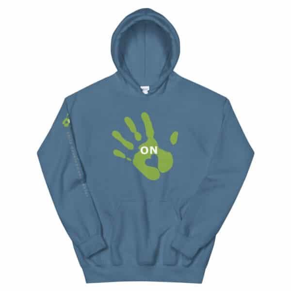 """blue hoodie, """"ON"""" handprint"""