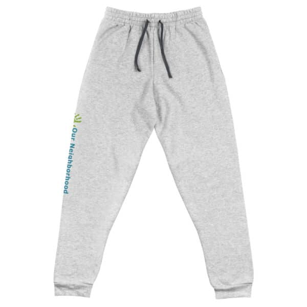 "sweatpants, comfy, merch, unisex jogger, light gray, draw string, ""our neighborhood"" down the side of the leg"