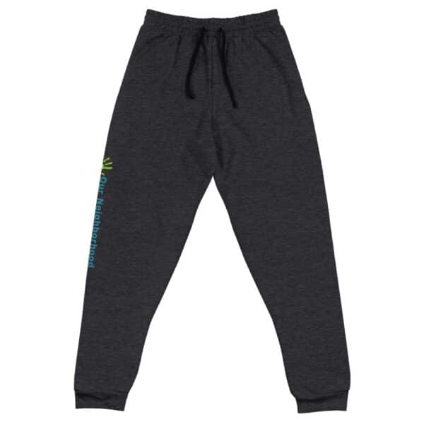 "dark gray joggers, comfortable, text reads ""our neighborhood"" down the side of the leg"
