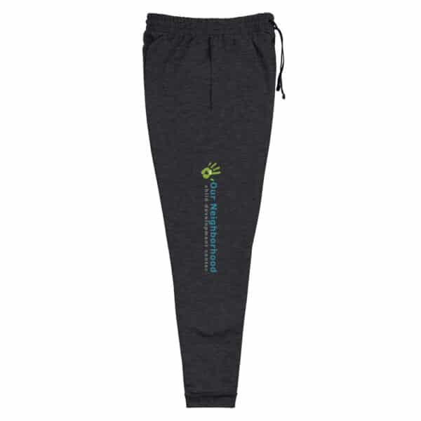 "dark gray joggers, blue and green, text reads ""our neighborhood"" down the side of the leg"