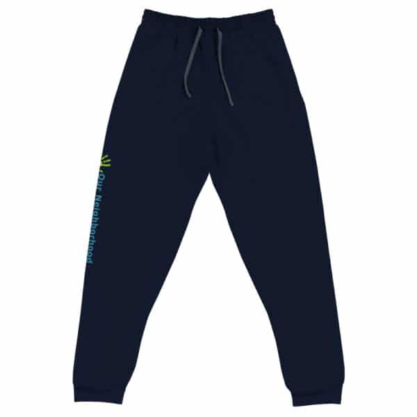 dark blue, unisex joggers with drawstring