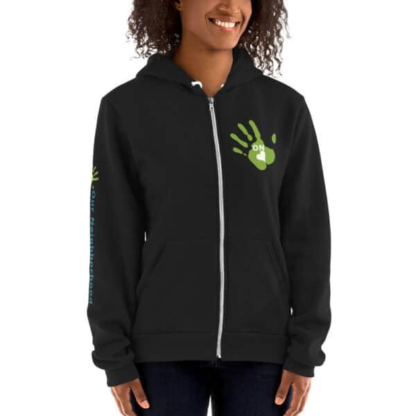 hoodie, zip up, hand print