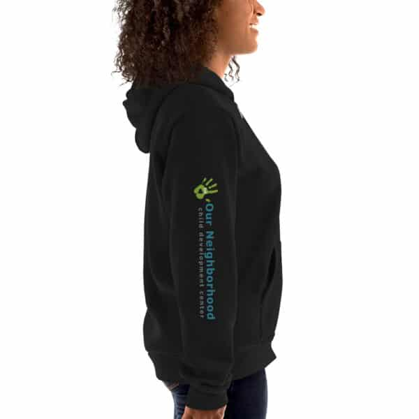 "hoodie, text reads ""our neighborhood child development center"" on side of sleeve"