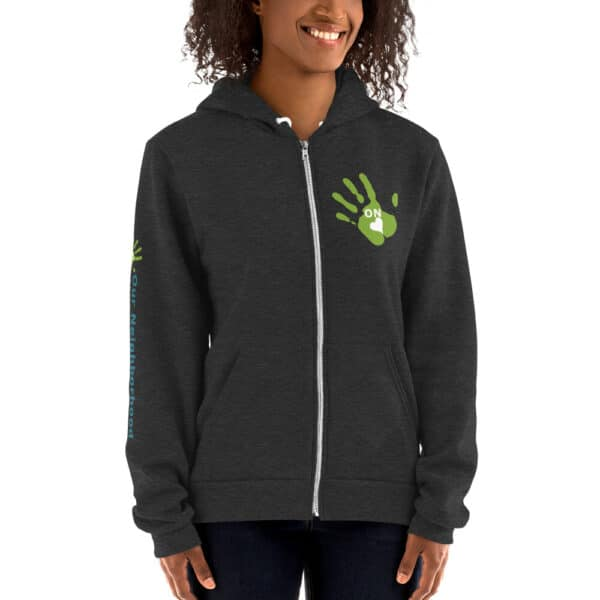 "front view of dark gray hoodie, zip up, text reads ""our neighborhood"" on the side of the arm"
