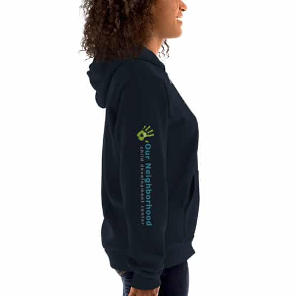 "side view of hoodie, zip up, text reads""our neighborhood child development center"""