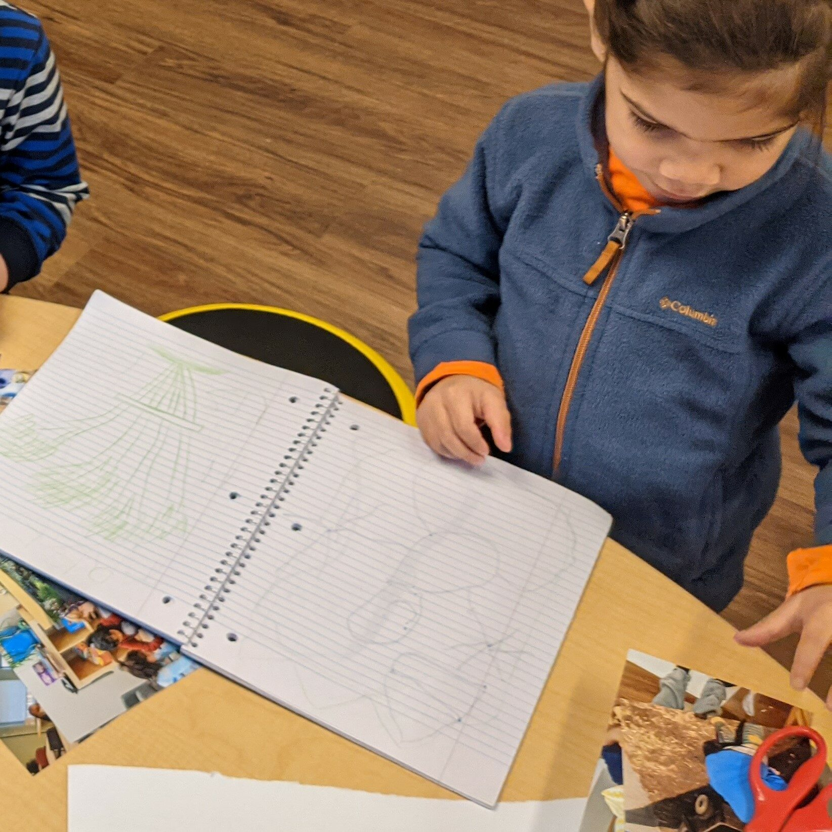 Toddler looking at images, pictures and thinking, play based learning